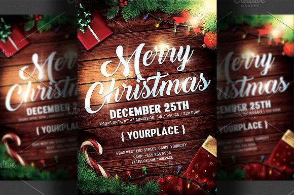 christmas flyer psd template flyer templates creative market