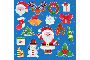 Christmas vector icons New Year decoration illustration of Xmas Christians festive ornament symbols.