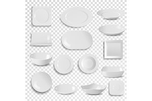 Vector plate and bowl empty white clean dinner dish utensil isolated on background meal dining dishware plateful circle 3d realistic style