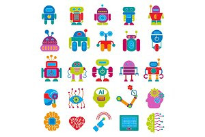 Vector robot technology design futuristic kid flat baby children cyborg robotic character machine science future illustration isolated on white background