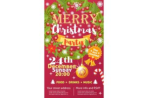 Christmas party invintation vector card background design template for noel Xmas holiday celebration clipart New Year colors printable party poster