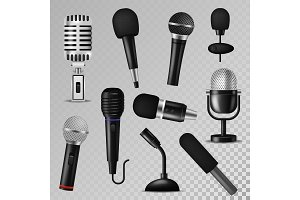 Microphone vector sound music audio voice mic recorder karaoke studio radio record phonetic vintage old and modern interview micro device set 3d isolated illustration