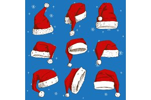 Christmas Santa Claus hat vector noel isolated illustration New Year Christians Xmas party design decoration hat element