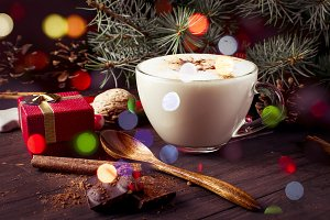 Christmas coffee with milk cocoa bra