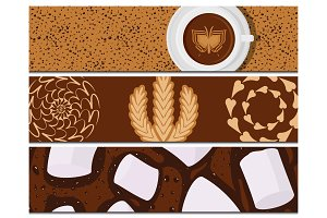 Different types of coffee cards chocolate cocoa cups top view perfect for menu assortment vector illustration.