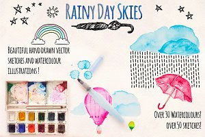 Rainy Sky Element Pack 80+ Graphics!