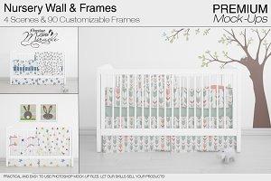 Nursery Crib Wall & Frames Set
