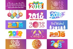 2018 happy New Year calendar Christmass text for Holiday calendar print colored design newborn party illustration