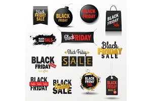 Black friday sale banner vector shopping offer for nighttime season winter sale poster stickers advert illustration