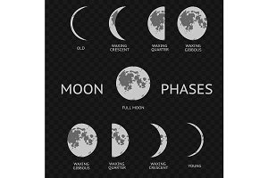 Phases of moon. Whole Astronomy