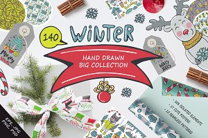Winter Hand Drawn Big Collection
