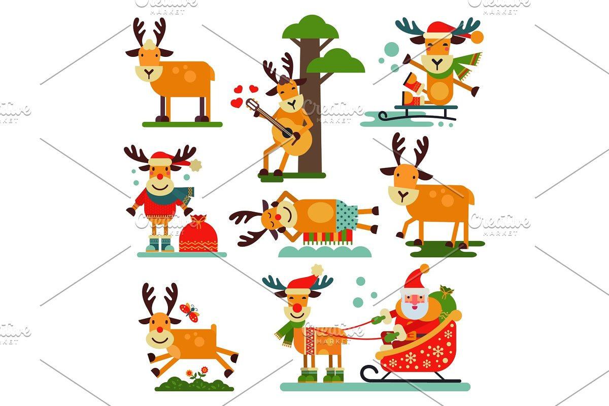 6db7f690a4546 Christmas cute reindeer Santa Claus character vector New Year ...
