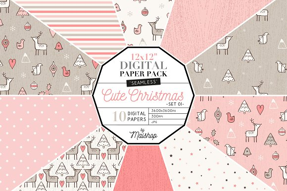 Digital Paper - Cute Christmas