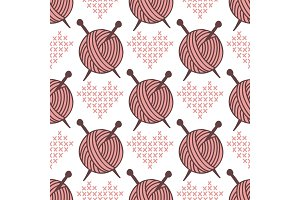 Yarn clew ball seamless pattern sewing wrapping woven paper background craft homemade fabric backdrop wallpaper vector illustration.