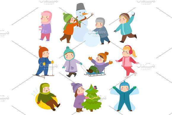 Kids Winter Christmas Games Playground Children Playing Sport Games Of Kinds Snowball Skating Kiddy Holidays Playtime