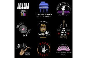 Music festival badge logo lettering made recording studio label hipster style vintage musical element sound production logotype vector illustration.