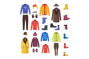 Winter Clothing  Set. Vector