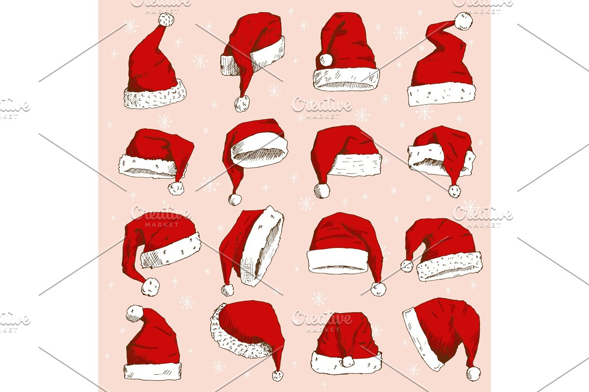 765a30dec22ae Christmas Santa Claus hat vector noel isolated illustration New Year ...