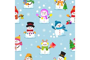 Snowman cartoon vector winter christmas character holiday merry xmas snow boys and girls illustration seamless pattern background