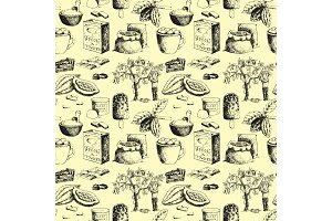 Vector cocoa products hand drawn sketch doodle seamless pattern background food chocolate sweet illustration.