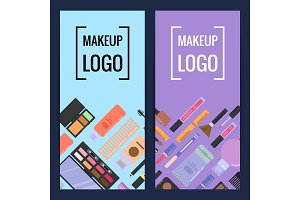 Vector makeup brand banners or flyers