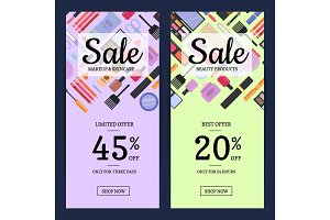 Banners for beauty shop with makeup and skincare in flat style backgrounds
