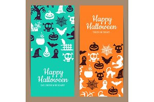 Vector halloween thin card or flyer templates with witches, pumpkins, ghosts, spiders silhouettes
