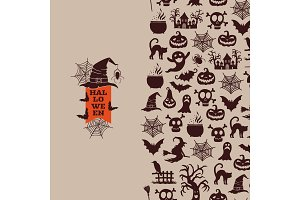 Vector halloween with witches, pumpkins, ghosts, spiders silhouettes