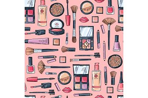 Vector hand drawn makeup products pattern