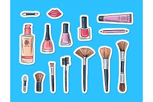 Vector hand drawn makeup elements stickers