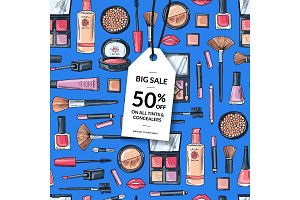 Vector hand drawn makeup background with white sale tag