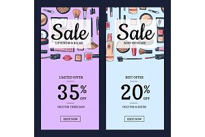 Vector sale banners for beauty shop with hand drawn makeup