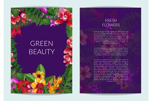 Vector tropical palm leaves and exotic flower elements business template