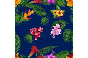 Vector tropical palm leaves and exotic flower elements pattern