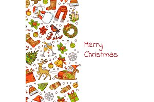 Vector hand drawn colored christmas elements with santa, xmas tree, gifts and bells