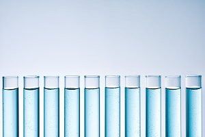 Row of full test tubes front