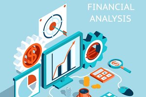 Vector 3D Financial Analysis Concept