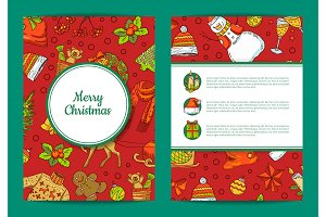 Vector xmas tree, gifts and bells card template with frames, shadows and place for text