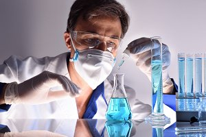 Chemical worker testing sample front