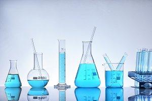 Laboratory glassware blue general