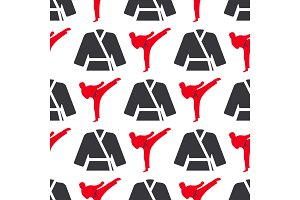 Monochrome fitness emblem design seamless pattern gym sport club strong equipment silhouette vector illustration.