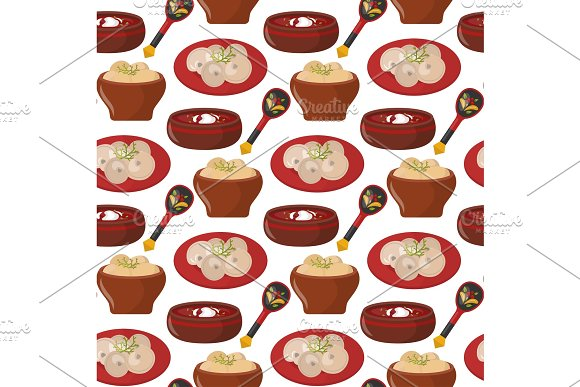 Traditional Russian Cuisine Culture Dish Seamless Pattern Background Course Food Welcome To Russia Gourmet National Meal Vector Illustration