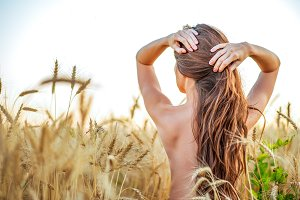 A beautiful girl wheat field, topless nude corrects long hair, a concept of purity. In the fresh air. Woman Brunette, femininity sexy tanned skin.