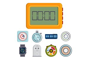Clock and watches vector timer colorful measurement tools number digital information stopwatch illustration