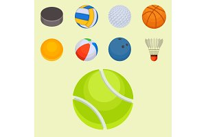 Set of balls isolated tournament win round basket soccer hobbies game equipment sphere vector illustration
