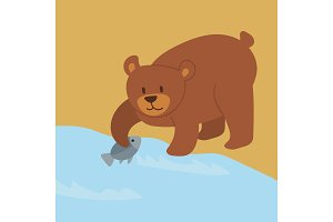 Cartoon bear character teddy pose vector background wild grizzly cute illustration adorable animal design.