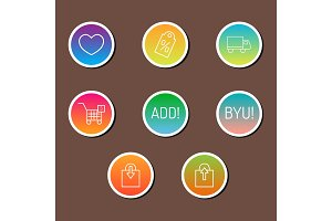 Colorful website online shop web buttons design vector illustration glossy graphic label internet confirm template