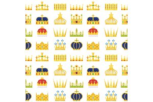 Crown king vintage premium seamless pattern background heraldic ornament luxury kingdomsign vector illustration.