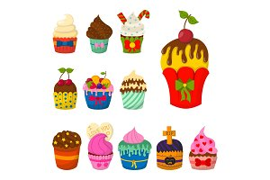 Set of cute vector cupcakes and muffins chocolate celebration birthday food sweet bakery party cute sprinkles decoration.