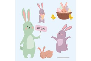 Easter rabbit character bunny different pose vector cute happy animal set illustration.